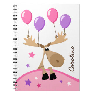 Moose with balloons fun girly kids personalized spiral note books