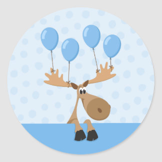Moose with blue balloons birthday stickers - boys