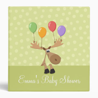 Moose with colorful balloons baby shower binder