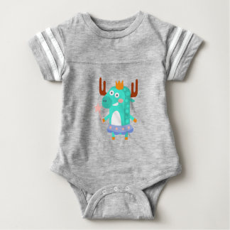 Moose With Party Attributes Girly Stylized Funky Baby Bodysuit