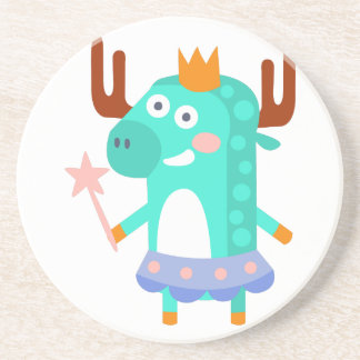 Moose With Party Attributes Girly Stylized Funky Coaster