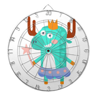 Moose With Party Attributes Girly Stylized Funky Dartboard