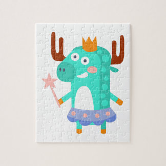 Moose With Party Attributes Girly Stylized Funky Jigsaw Puzzle