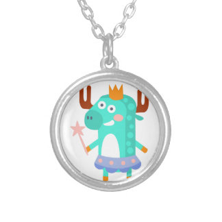 Moose With Party Attributes Girly Stylized Funky Silver Plated Necklace