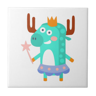 Moose With Party Attributes Girly Stylized Funky Tile