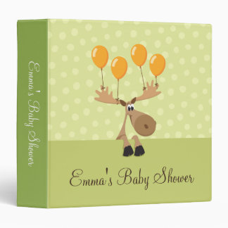 Moose with yellow balloons baby shower binder