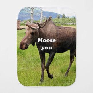 Moose you: Alaskan moose Burp Cloth