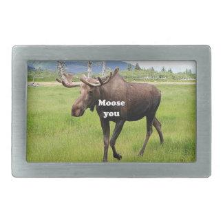 Moose you: Alaskan moose Rectangular Belt Buckles
