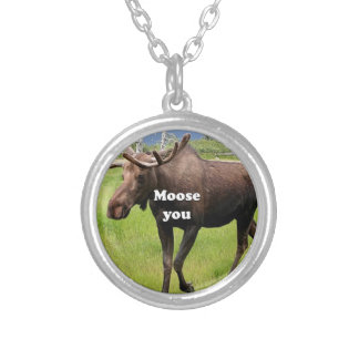 Moose you: Alaskan moose Silver Plated Necklace