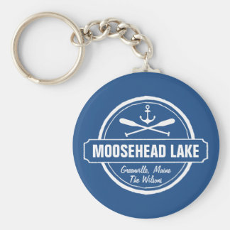 Moosehead Lake Maine anchor custom town and name Basic Round Button Keychain