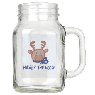 Moosey the Moose- Mason Jar Mug with Handle