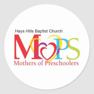 MOPS logo with church name Classic Round Sticker