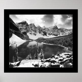 Moraine Lake (Black & White) Poster