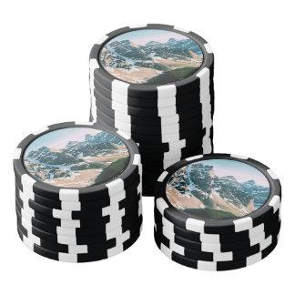 Moraine Lake Mountains in Alberta, Canada Poker Chips