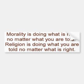 Morality vs. Religion Bumper Sticker