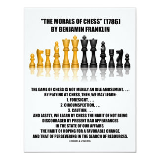 Morals Of Chess Benjamin Franklin Reflective Chess Card