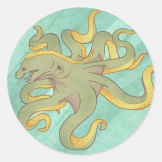 Moray Eel Octopus Round Sticker