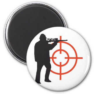 more hunter with gun 2 inch round magnet