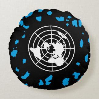 More Land #GLOBEXIT Round Pillow Black (16'')