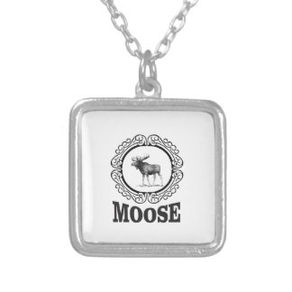 more moose ring silver plated necklace
