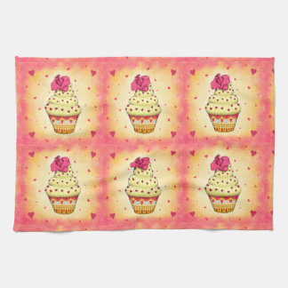 More nicely yellow and pink Cupcake with rose and Kitchen Towel