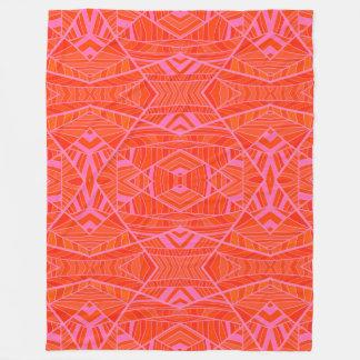 More Orange Than Pink Geo Pattern by KCS Fleece Blanket