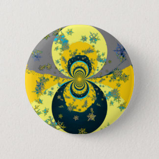 """""""MORE SNOW IN FORECAST"""" YELLOW BLUE ART 2 INCH ROUND BUTTON"""