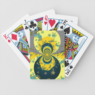 """MORE SNOW IN FORECAST"" YELLOW BLUE ART BICYCLE PLAYING CARDS"