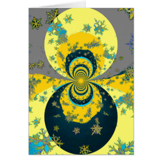 """MORE SNOW IN FORECAST"" YELLOW BLUE ART CARD"