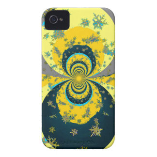 """""""MORE SNOW IN FORECAST"""" YELLOW BLUE ART Case-Mate iPhone 4 CASE"""