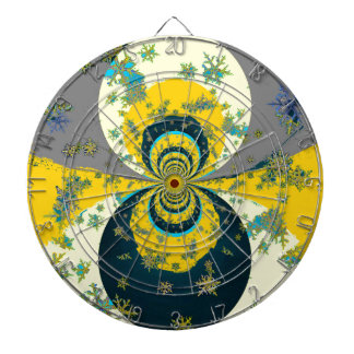 """MORE SNOW IN FORECAST"" YELLOW BLUE ART DARTBOARD"