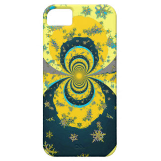 """MORE SNOW IN FORECAST"" YELLOW BLUE ART iPhone 5 CASES"