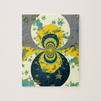 """MORE SNOW IN FORECAST"" YELLOW BLUE ART JIGSAW PUZZLE"