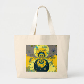 """""""MORE SNOW IN FORECAST"""" YELLOW BLUE ART LARGE TOTE BAG"""