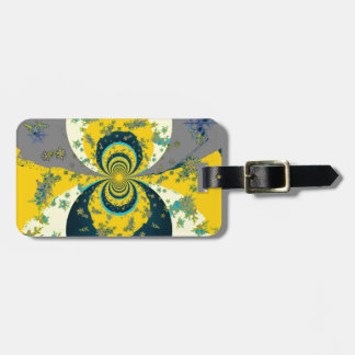 """""""MORE SNOW IN FORECAST"""" YELLOW BLUE ART LUGGAGE TAG"""