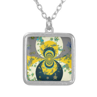 """MORE SNOW IN FORECAST"" YELLOW BLUE ART SILVER PLATED NECKLACE"