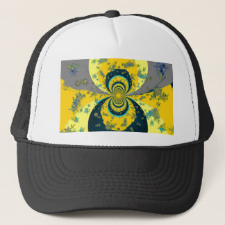"""""""MORE SNOW IN FORECAST"""" YELLOW BLUE ART TRUCKER HAT"""