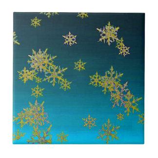 """""""MORE SNOW""""TEAL BLUE ART DESIGN GIFTS TILE"""