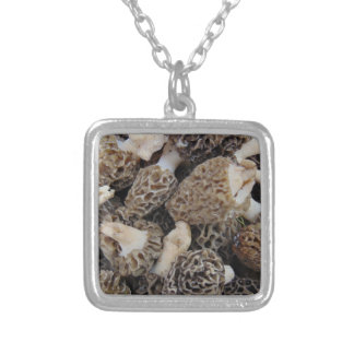 Morel Mushrooms Silver Plated Necklace