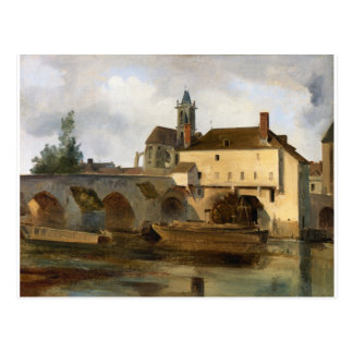 Moret sur Loing, the Bridge and the Church Postcard
