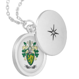 Morgan Family Crest Coat of Arms Silver Plated Necklace