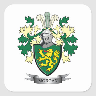 Morgan Family Crest Coat of Arms Square Sticker