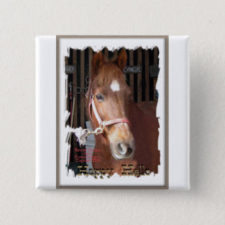 Morgan Horse Happy 2 Inch Square Button