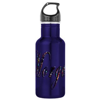 Morgan, Name, Logo, Blue Aluminum Water Bottle