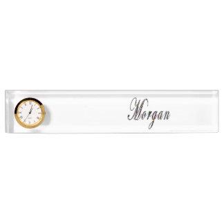 Morgan, Name, Logo, Desk Name Plate With Clock.