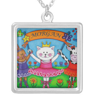 Morgan Necklace, or add your own Name Silver Plated Necklace
