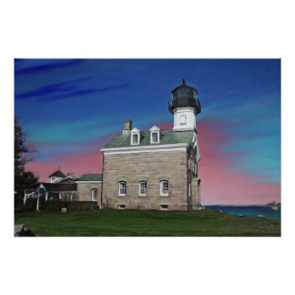 Morgan Point Lighthouse Painting Print
