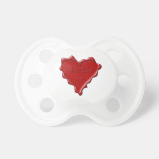 Morgan. Red heart wax seal with name Morgan Pacifiers