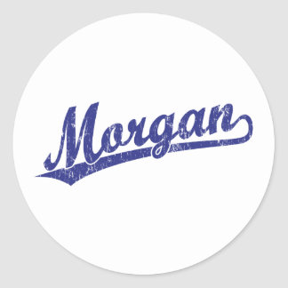 Morgan script logo in blue classic round sticker