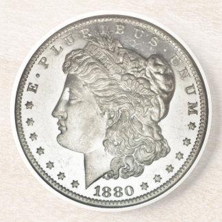 Morgan Silver Dollar Image on Drink Coaster
